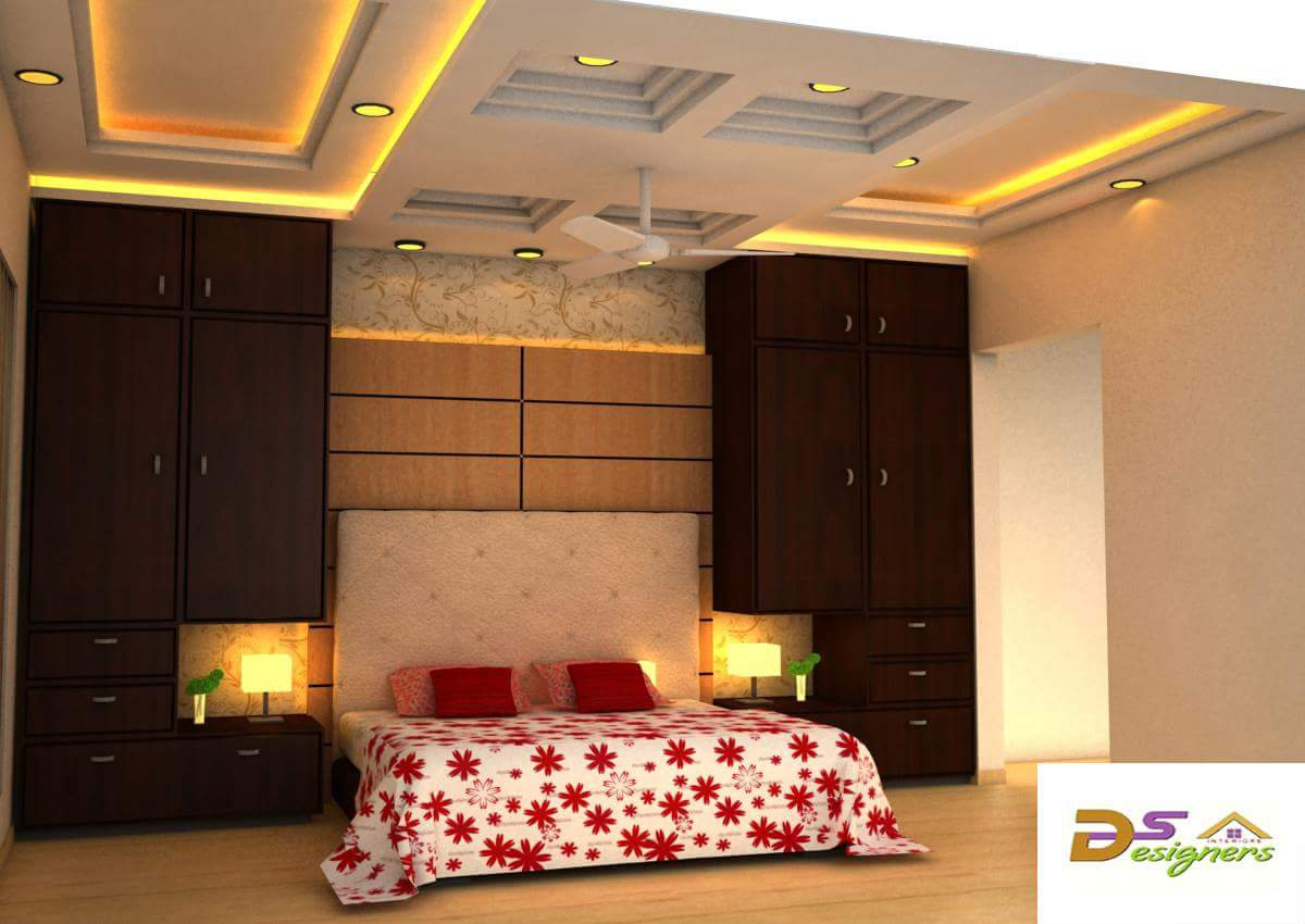 Bedroom With False Ceiling And Dark Wood Wardrobes by Shivraj Singh Bedroom Contemporary | Interior Design Photos & Ideas