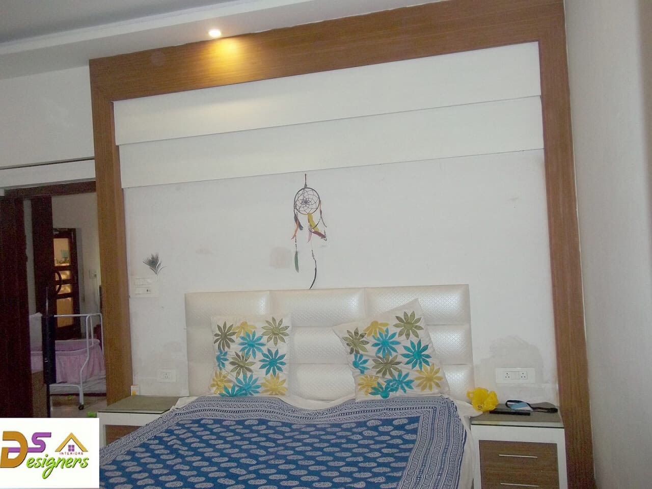 Bedroom With Wooden Wall Frame by Shivraj Singh Bedroom Contemporary | Interior Design Photos & Ideas