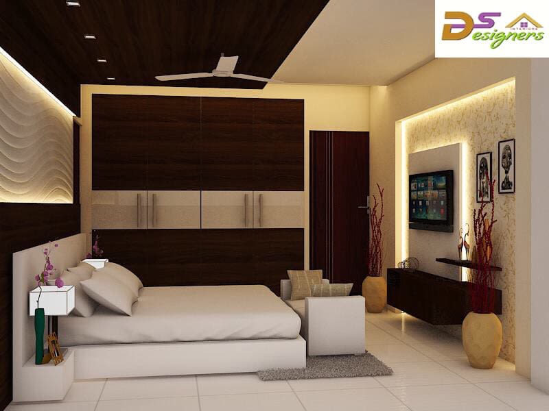 Bedroom With White Box Bed And Tile Flooring by Shivraj Singh Bedroom Contemporary | Interior Design Photos & Ideas