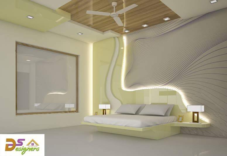 Bedroom With Wooden False Ceiling  And Raised Back Wall by Shivraj Singh Bedroom Contemporary | Interior Design Photos & Ideas