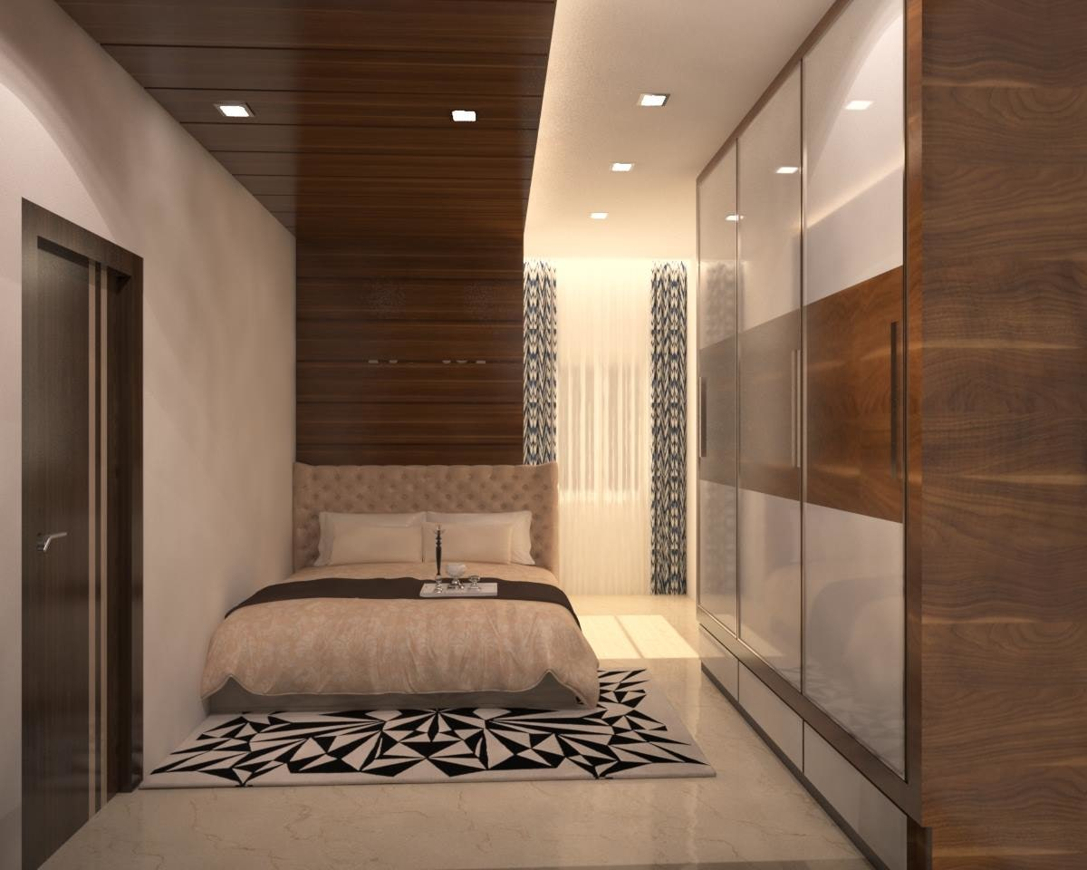 Wooden Wall Mounted Wardrobe With Marble Flooring by Icraft Desginz and interiors Bedroom Modern | Interior Design Photos & Ideas
