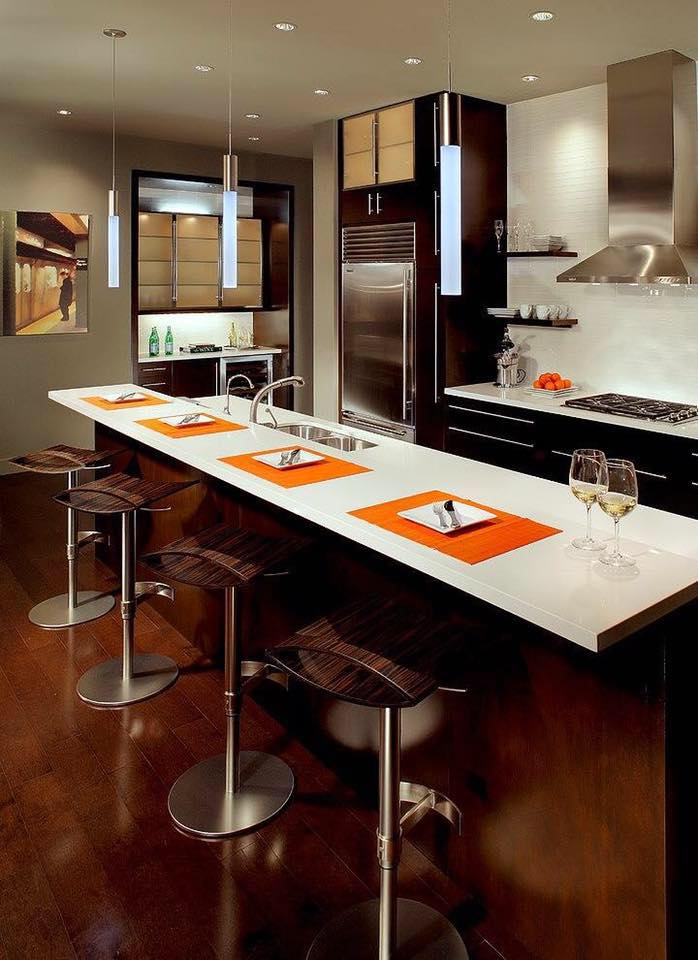 Open Island Kitchen With Bar by Icraft Desginz and interiors Modular-kitchen Modern | Interior Design Photos & Ideas