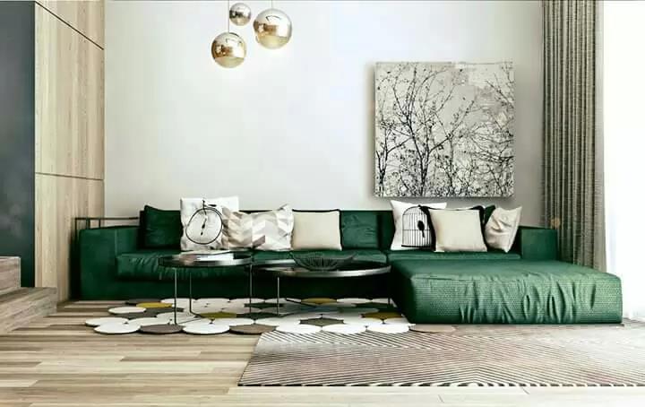 Dark Green Sectional Sofa For Living Space by Icraft Desginz and interiors Living-room Modern | Interior Design Photos & Ideas