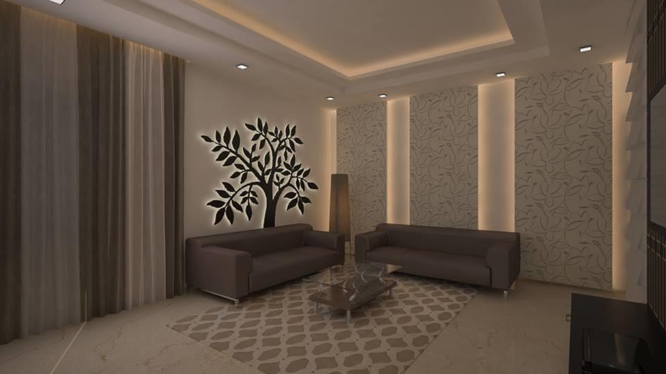 Dark  Walnut Mid Century Modern Sofa For Living Space by Icraft Desginz and interiors Living-room Contemporary | Interior Design Photos & Ideas