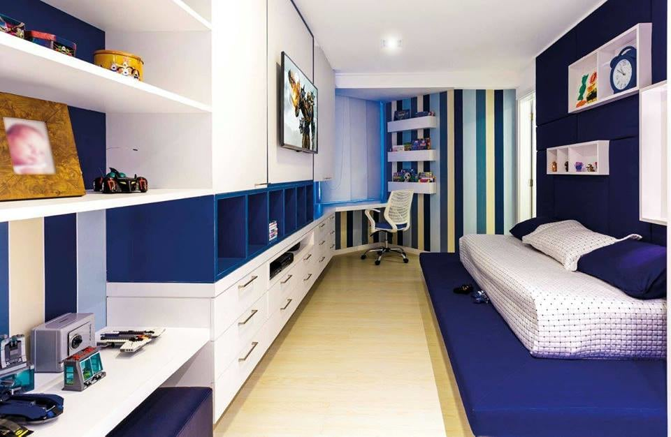 Blue And White Shaded Kid's Bedroom by Icraft Desginz and interiors Bedroom Modern | Interior Design Photos & Ideas