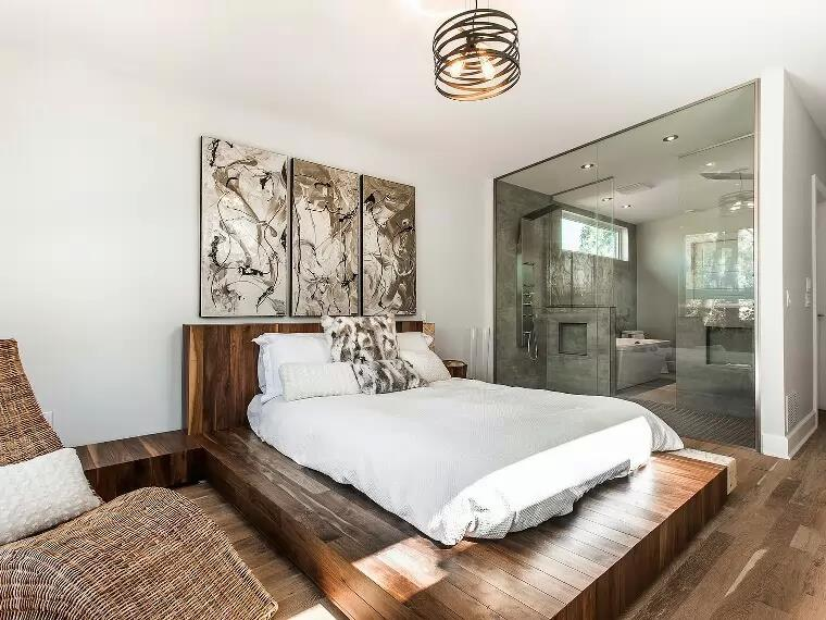 Bedroom With Wood Work And artistic Chandelier by Icraft Desginz and interiors Bedroom Contemporary | Interior Design Photos & Ideas