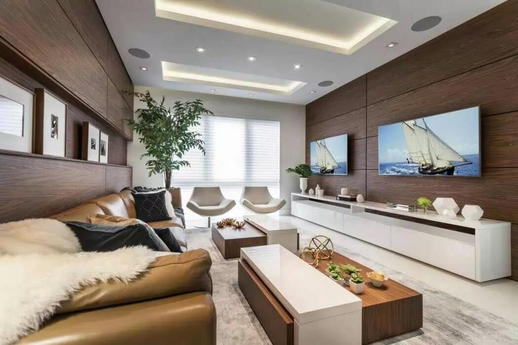 White And Brown Shaded Living Space With TV Unit by Icraft Desginz and interiors Living-room Modern | Interior Design Photos & Ideas