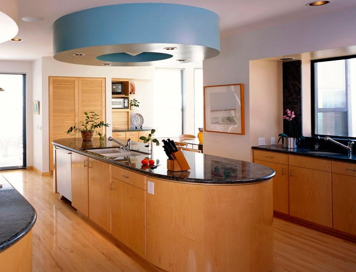Open Parallel Island Kitchen With Blue Drum Light By VJP. DECORS Modular  Kitchen Contemporary