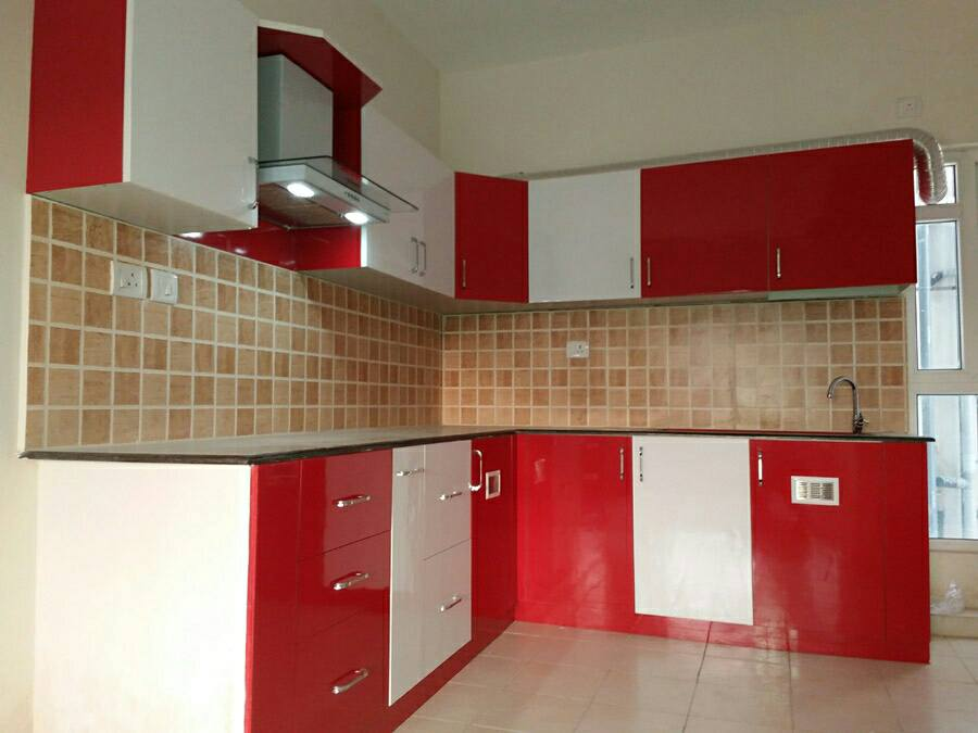 Red And White Themed Modular Kitchen by VJP. DECORS  Modular-kitchen Contemporary | Interior Design Photos & Ideas