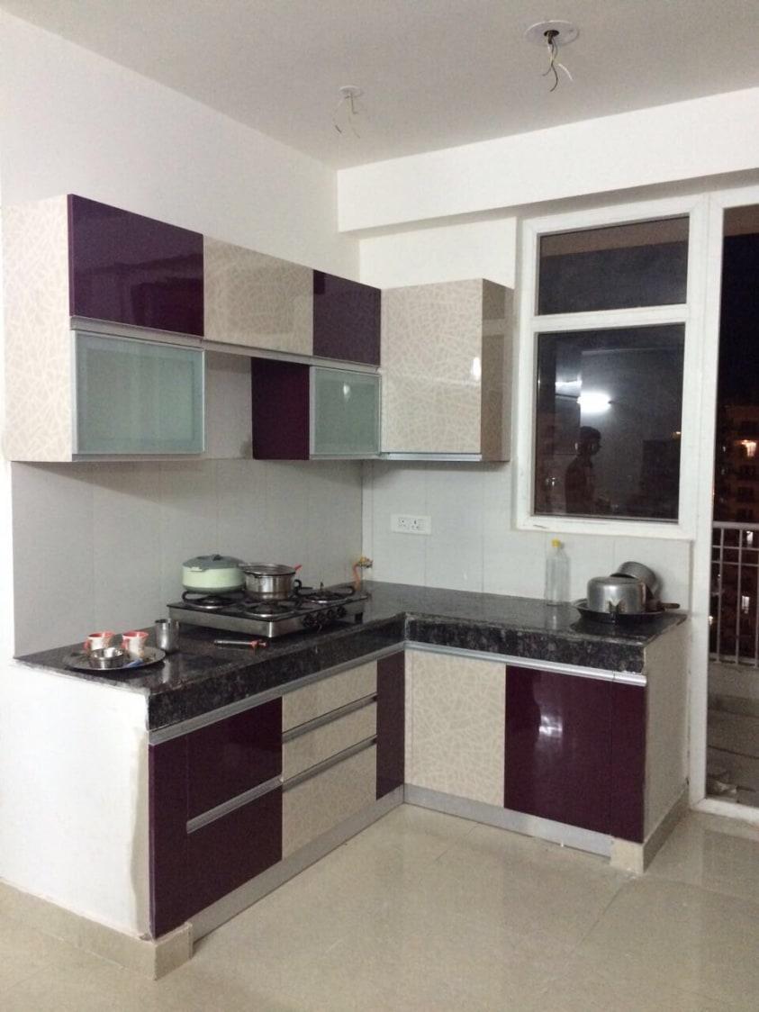 Plum Shade Kitchen By Dreamz Interior