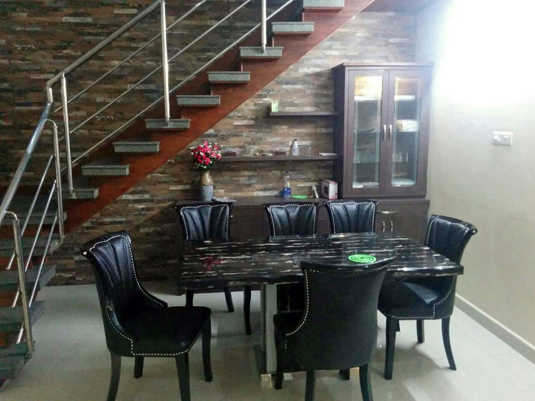 Dining Area Black Chairs by Madhumathi. J. Dharwar Dining-room Contemporary | Interior Design Photos & Ideas