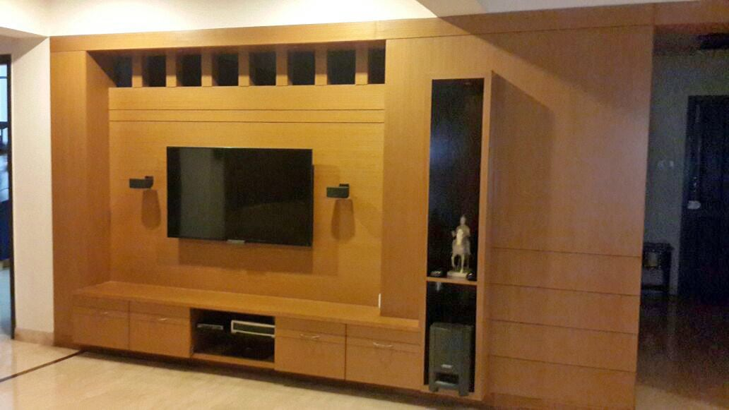 Living Room With Full Wall Wooden Cabinet by Madhumathi. J. Dharwar Living-room Contemporary   Interior Design Photos & Ideas