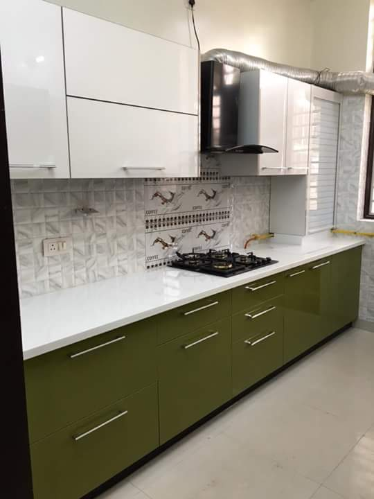 Parallel Kitchen With Green And White Cabinets by Gaurav Kapoor Modular-kitchen Contemporary | Interior Design Photos & Ideas