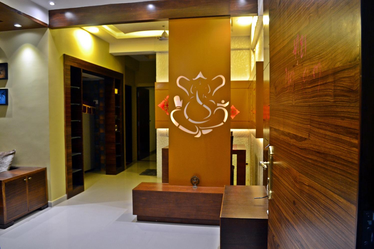 Hallway With Wooden Pillar by Ankita Patel Indoor-spaces Contemporary | Interior Design Photos & Ideas