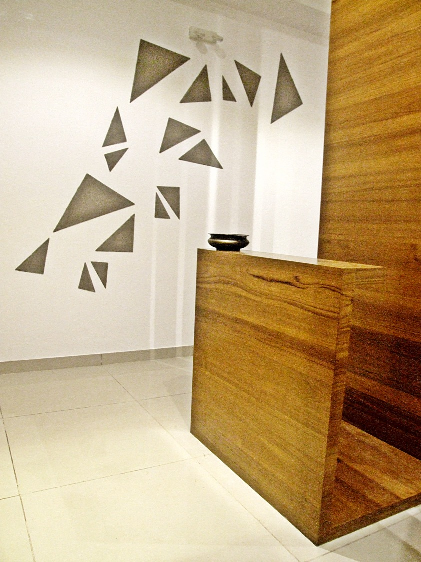 Broken Glass work On Wall With Wooden Furnishing by Ankita Patel Contemporary | Interior Design Photos & Ideas