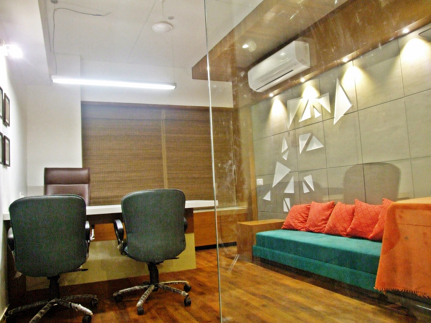 Office With Glass Partition by Ankita Patel Contemporary | Interior Design Photos & Ideas