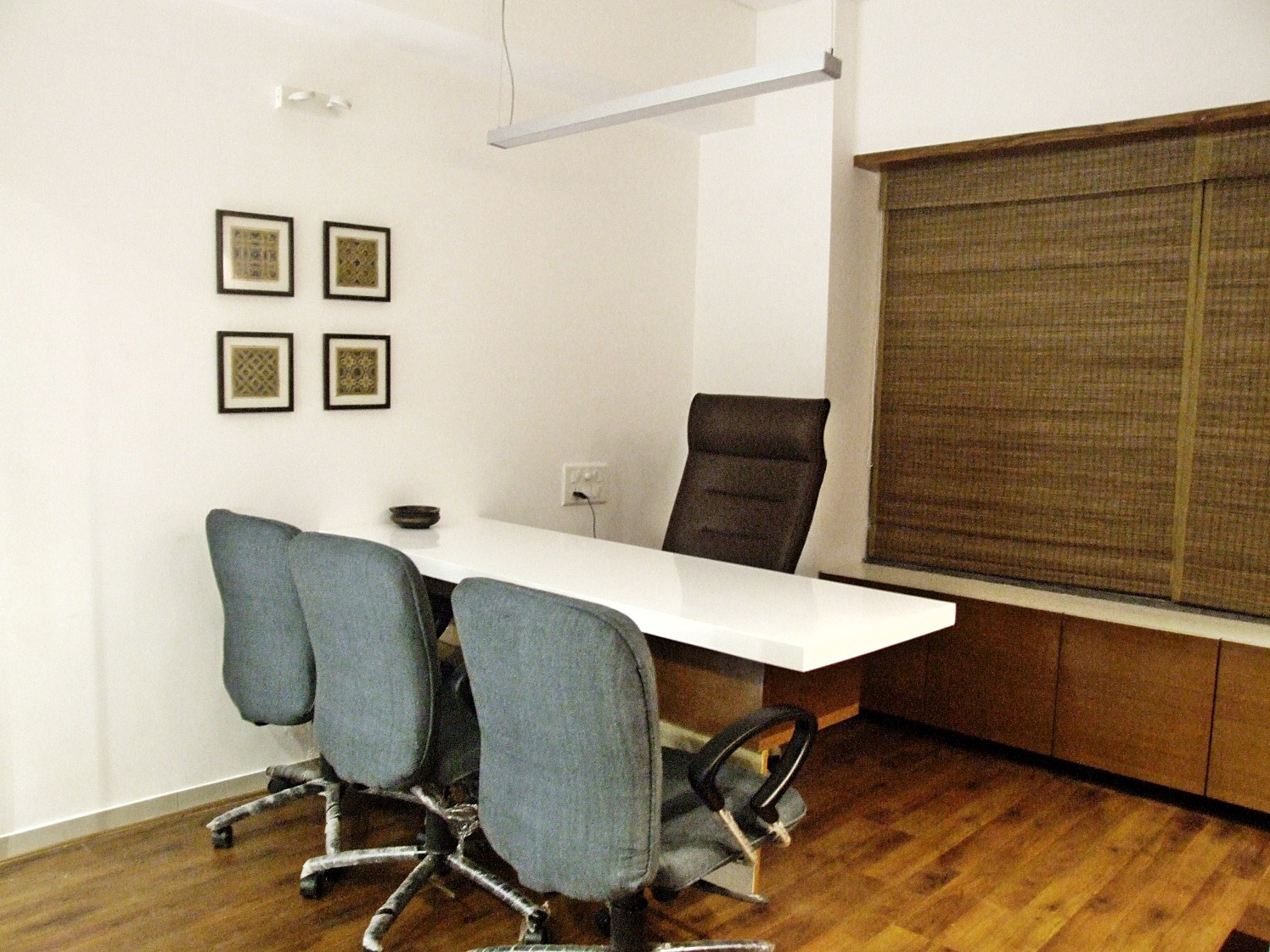 Office With Wooden Flooring by Ankita Patel Contemporary | Interior Design Photos & Ideas