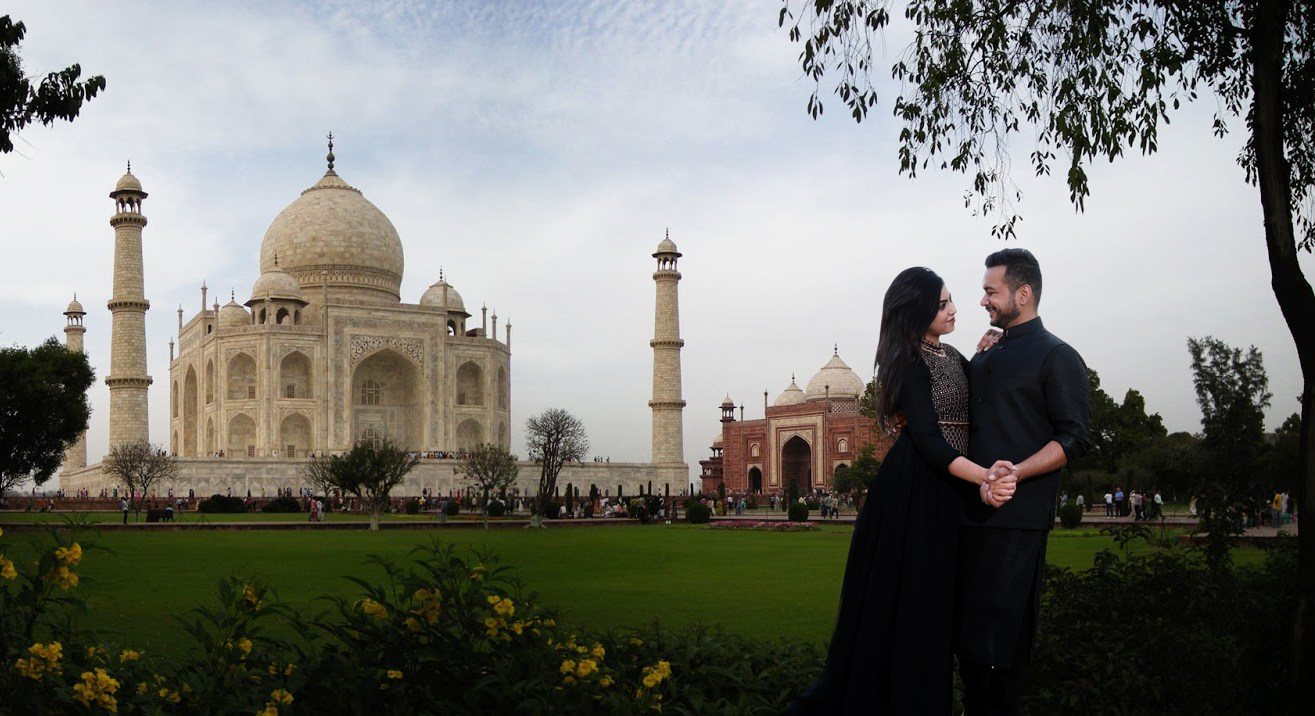 The Symbol of Love Taj Mahal Against the Backdrop of Bride And Groom To-Be by Sanjay Balyan Wedding-photography Wedding-hairstyles Groom-wear-and-accessories Wedding-dresses | Weddings Photos & Ideas