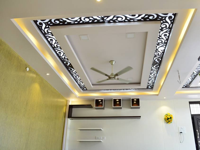 False Ceiling And Yellow Lighting by Dhanu Nayak Living-room Contemporary | Interior Design Photos & Ideas