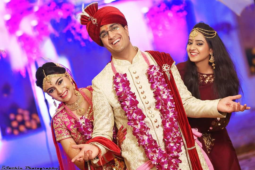 Charming Groom With His Bride And Bridesmaid by Sachin Kumar Wedding-photography Bridal-jewellery-and-accessories Groom-wear-and-accessories | Weddings Photos & Ideas
