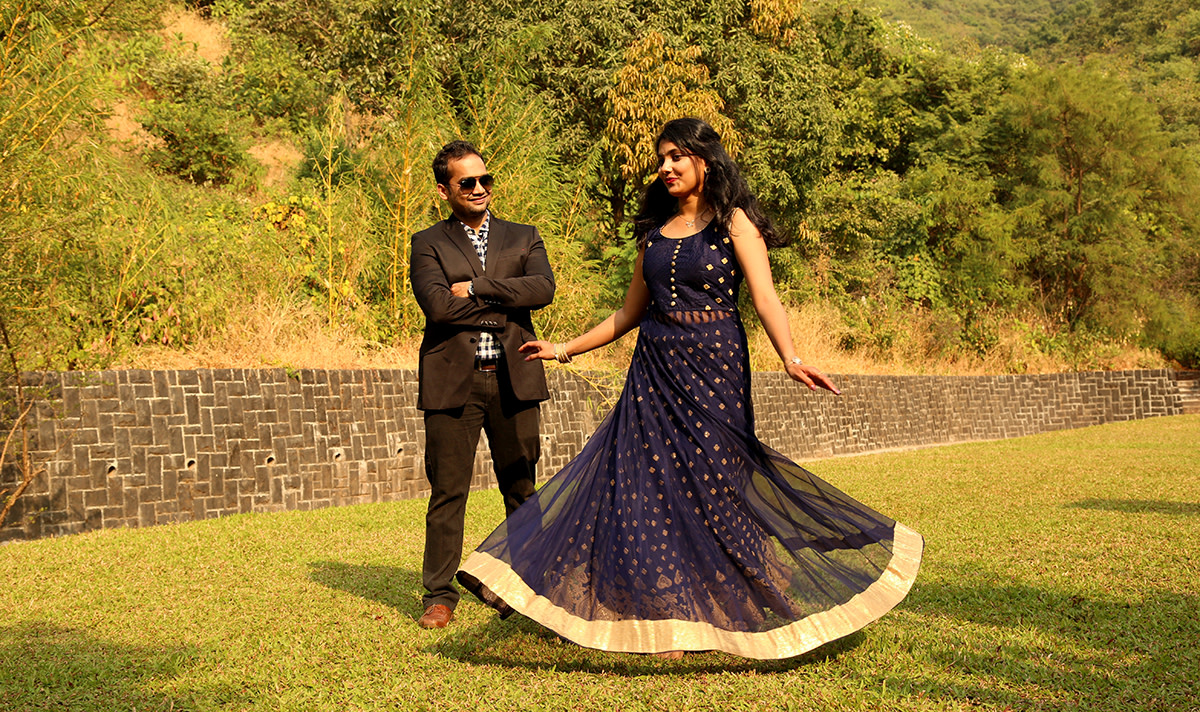 Twirling Bride To-Be Wearing Navy Blue Net Anarkali Suit With Golden Gota Patti Work by Rushil Jadhav Wedding-photography Groom-wear-and-accessories Wedding-dresses | Weddings Photos & Ideas
