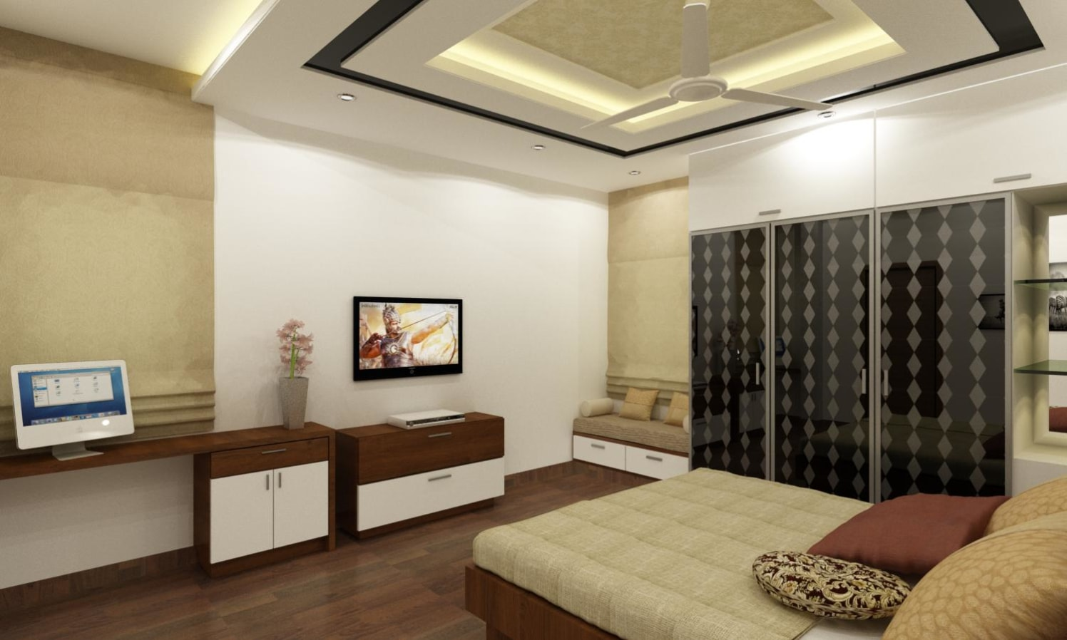 Master bed room with tv unit by S. Harpal singh Bedroom | Interior Design Photos & Ideas