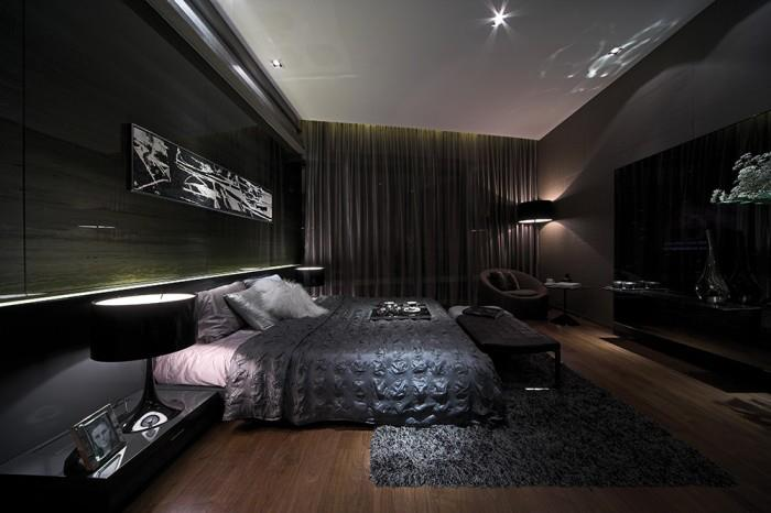 Black Shaded Bedroom With Wooden Floor by Mohit Kumar Bedroom Modern | Interior Design Photos & Ideas