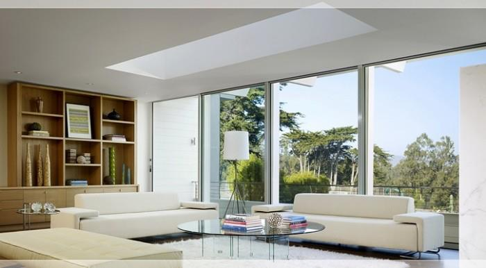 Splashed White Living Room With Outside View by Mohit Kumar Living-room Modern | Interior Design Photos & Ideas