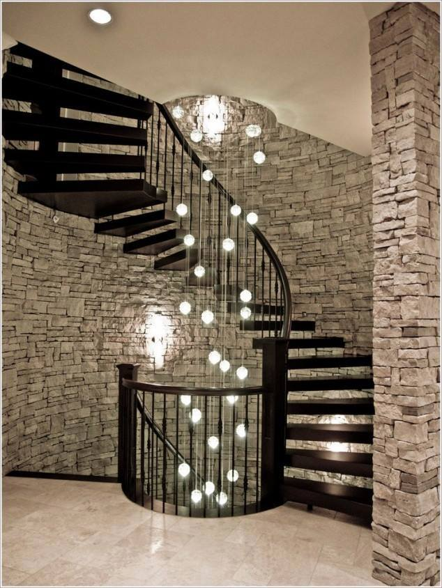 Black Shaded Staircase With Brick Wall by Mohit Kumar Indoor-spaces Modern | Interior Design Photos & Ideas