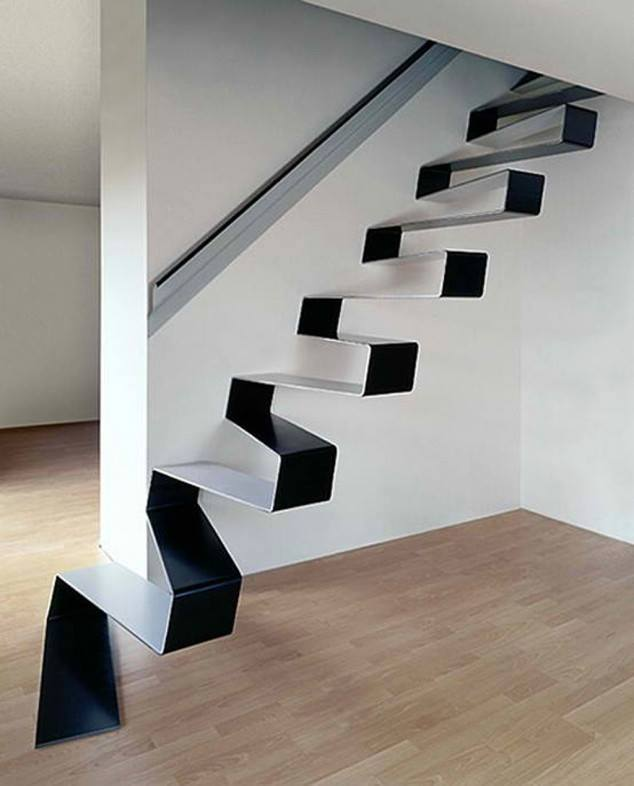 Modern Zig Zag Staircase by Mohit Kumar Indoor-spaces Modern | Interior Design Photos & Ideas