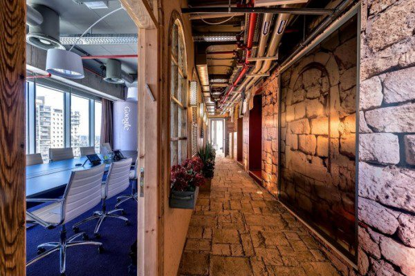 Office Hallway With Brick Textured Wall by Mohit Kumar Modern   Interior Design Photos & Ideas