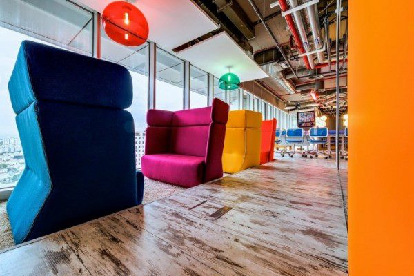Modern Office Area With Colorful Sofas by Mohit Kumar Modern | Interior Design Photos & Ideas
