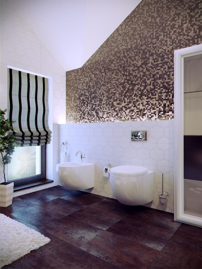 Bathroom With Wooden Flooring And Textured Wall by Mohit Kumar Bathroom Modern | Interior Design Photos & Ideas