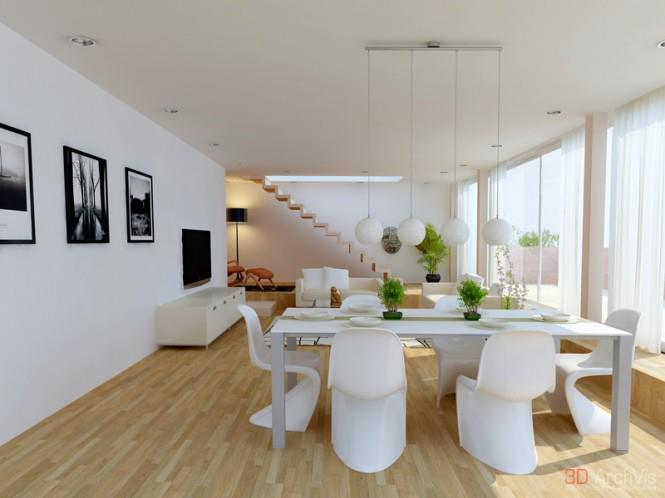 White Shaded Dining Room With Wooden Floor by Mohit Kumar Dining-room Modern | Interior Design Photos & Ideas