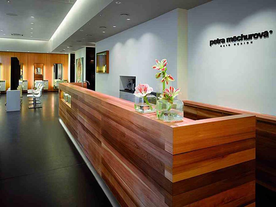 Office Reception Area With Wooden Desk by Mohit Kumar Modern | Interior Design Photos & Ideas