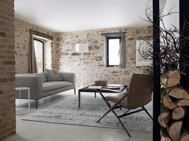 Brick Textured Living Room With Window by Mohit Kumar Living-room Contemporary   Interior Design Photos & Ideas