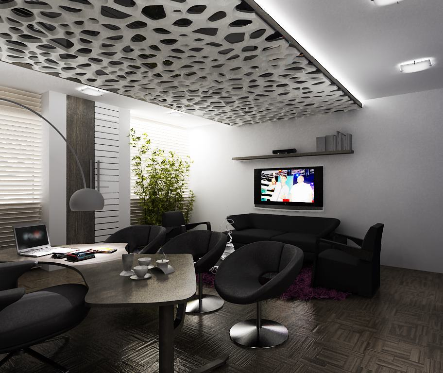 Black Shaded Office Room With Round Chairs by Mohit Kumar Living-room Modern | Interior Design Photos & Ideas