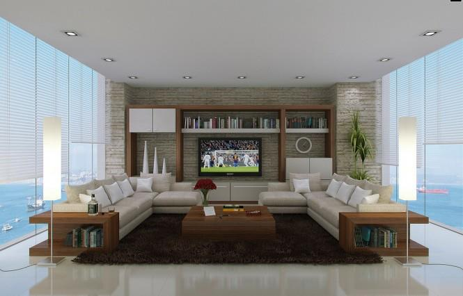 Vanilla Shaded Living Room With L Shaped Sofa by Mohit Kumar Living-room Contemporary | Interior Design Photos & Ideas