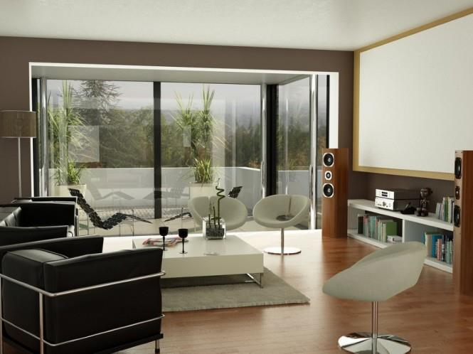 Living Room with Round Chair And Wooden Floor by Mohit Kumar Living-room Modern   Interior Design Photos & Ideas