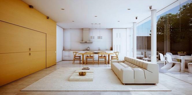 Living Area With Golden Oak Shade Wall by Mohit Kumar Living-room Modern | Interior Design Photos & Ideas