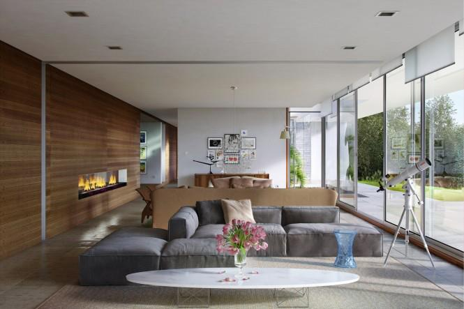Living Room With Outside View And Wooden Wall by Mohit Kumar Living-room Contemporary | Interior Design Photos & Ideas