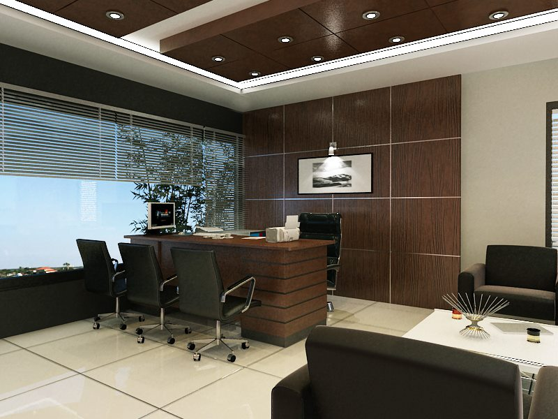 Modern Office Place With Wooden Back by Mohit Kumar Modern | Interior Design Photos & Ideas