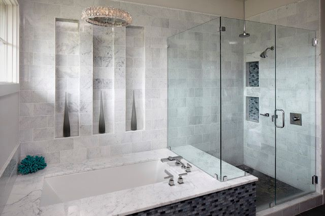 Textured Bathroom With Bath Tub And Shower Stall by Mohit Kumar Bathroom Modern | Interior Design Photos & Ideas