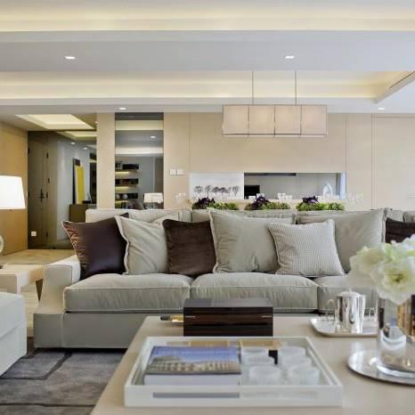 Buff Shaded Living Room With Light Grey Sofa by Mohit Kumar Living-room Contemporary | Interior Design Photos & Ideas