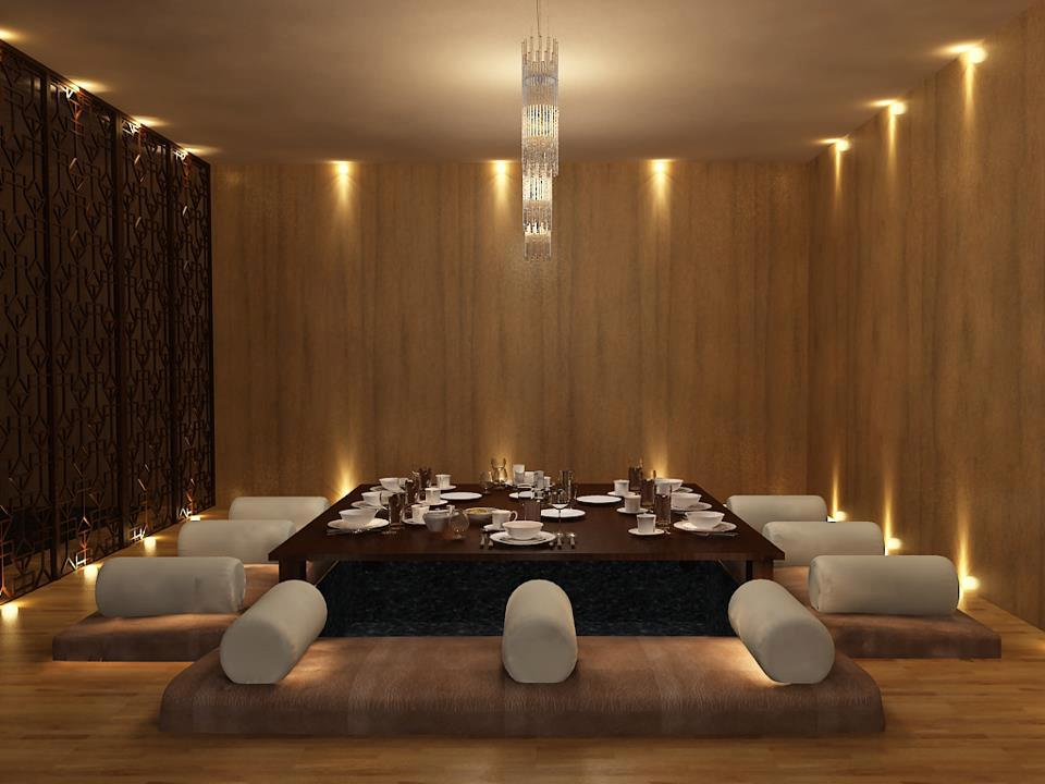 Antique Oak Shaded Dining Room With Wooden Floor by Mohit Kumar Contemporary | Interior Design Photos & Ideas
