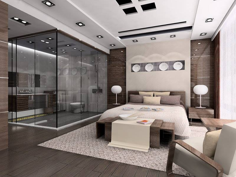Contemporary White Bedroom With Wooden Floor by Mohit Kumar Bedroom Contemporary | Interior Design Photos & Ideas