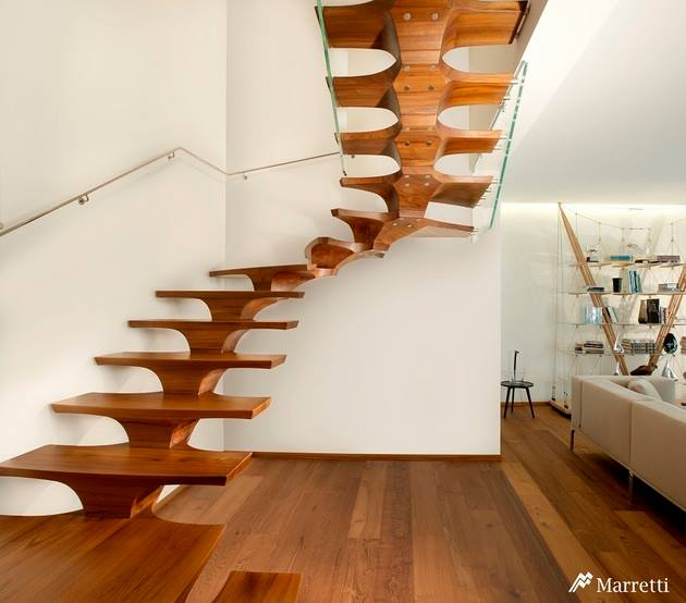 Staircase With Wooden Flooring by Mohit Kumar Indoor-spaces Modern | Interior Design Photos & Ideas