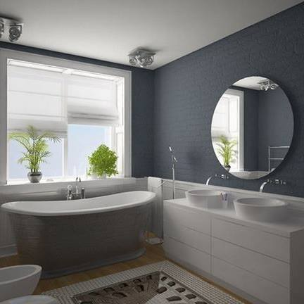 Dark Grey Bathroom With Round Mirror by Mohit Kumar Bathroom Contemporary | Interior Design Photos & Ideas