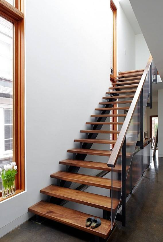 Staircase With Glass Railing by Mohit Kumar Indoor-spaces Modern | Interior Design Photos & Ideas