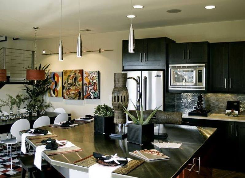 Kitchen Space With Black Shade Cabinets And Modern Appliances by Mohit Kumar Modular-kitchen Modern | Interior Design Photos & Ideas